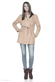 Płaszczyk jesienny z flauszu t216, musztardowy płaszcze tessita