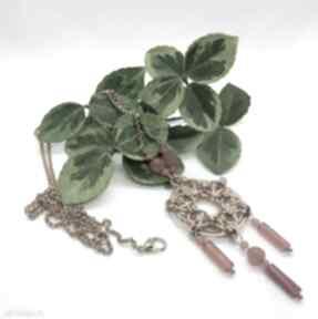 Naszyjnik chainmaille ze stali szlachetnej - karneol i jadeit