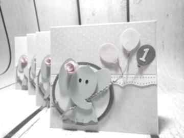 Kartka zaproszenie z balonikowym słonikiem kartki the scraper
