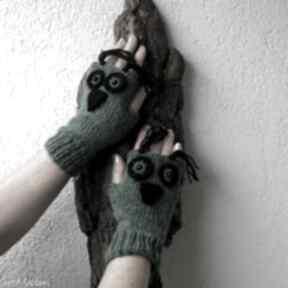 Zielone sówki rękawiczki albadesign rękawiczki,
