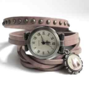 Zegarek - kotki owijany, skóra, nity zegarki liliarts zegarek