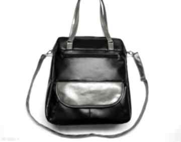 Listonoszka xxl - czarna i dodatki sepia na ramię torebki