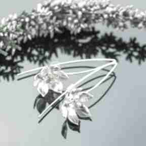 Srebrne kolczyki kwiaty z cytrynem pracownia bellart kolczyki