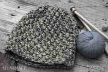 Czapka handmade brązowo-beżowa czapki hermina hand made