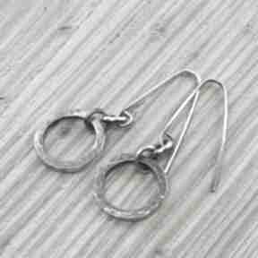 Kolczyki motkowane koła loopart koła, srebrne wiszące, oksyda