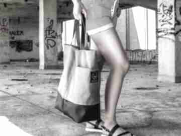 Szara torba na ramię monest atelier kobieca, ramie, pojemna