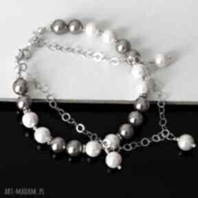 Pastelowe perły akadi 1 sea shell, srebro, elegancka, delikatna,