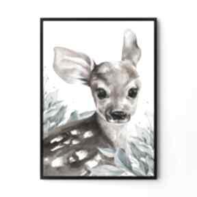 Plakat obraz urocza sarenka 50x70 cm b2 pokoik dziecka hogstudio