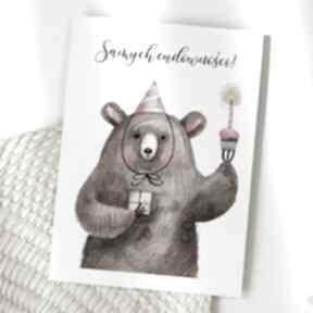 Kartka urodzinowa - samych cudowności miś kartki cardie kartka