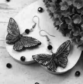 Czarne motyle - oryginalne kolczyki kameleon motyle, motylki