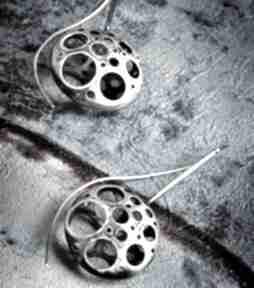 Srebrne duże kolczyki oksydowane, surowe srebro teksturowane