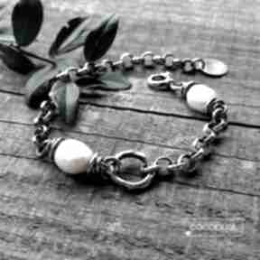 Bransoleta z perłami - masywna, srebro 925 cocopunk srebro