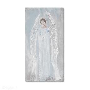 Anioł błękitny aleksandrab anioł, obraz, autorski, malowany