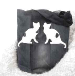 Ekologiczna torba dżinsowa z kotami godeco torba, denim, jeans