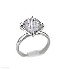 Zgustem ametyst, pierścionek z-ametystem, srebrny, jasny srebro