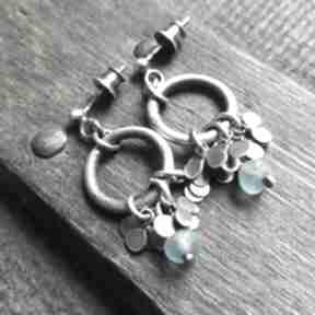 Minimalistyczne kolczyki ze srebra i szkła antycznego treendy