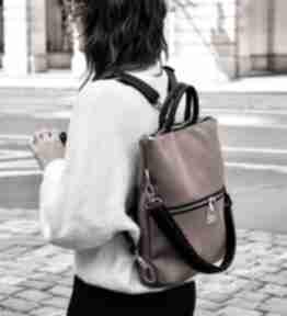 Plecak torba 2 w 1 z nubuku tapicerskiego rudy brąz torebki bags
