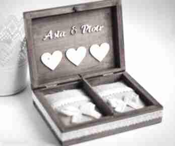 Pudełko na obrączki 3 serca księgi gości biala konwalia pudełko,