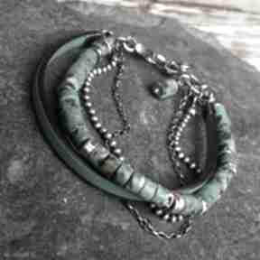 Bransoletka srebrna z turkusem afrykańskim i rzemieniem