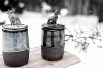 Kamionkowy pojemnik na różności z figurką konia - smaragd 750 ml