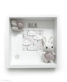 Metryczka narodzin dziecka - różowy króliczek pokoik metrique