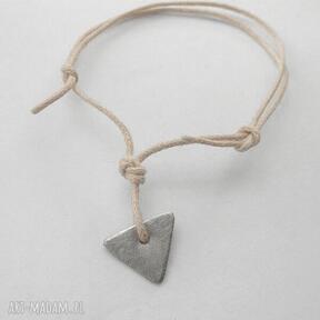 Trojkąt bransoletka katarzyna kaminska alpaka, sznurek,