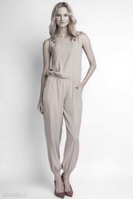 LANTI urban fashion. Zwiewny kombinezon, KB101 beż