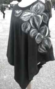 Poncho z dzianiny wełnianej czarne ruda klara poncho, wełna