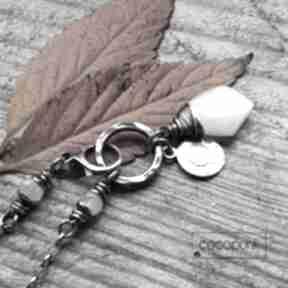 Asymetryczny naszyjnik - srebro i kamień księżycowy naszyjniki