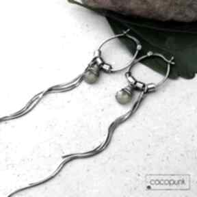 Srebro i wezuwian - bardzo długie kolczyki cocopunk długie