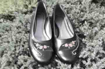 Balerinki z haftem buty swarne góralskie, folkowe, haft, róża