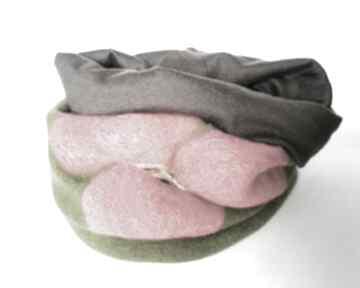 Komin z dzianiny swetrowej filcowany wełną merynosów zimowy