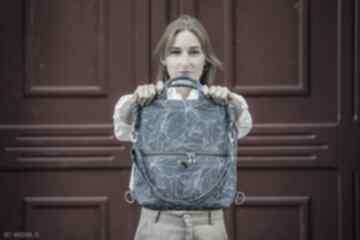 Plecak torba 2 w 1 niebieskie wzory z weluru tapicerskiego