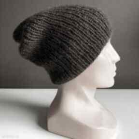 Ręcznie robiona czapka hand made ściągacz 100% baby merino plus