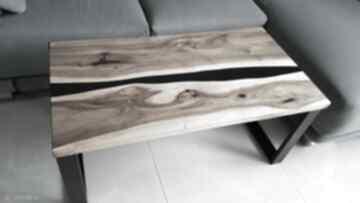 Stolik kawowy, ława z orzecha, żywica - rzeka stoły sciete