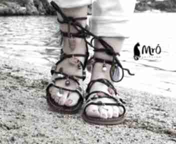 Sandały rzymianki zdobione ręcznie buty mrosoutache rzymianki