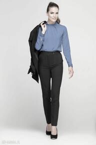 spodnie? wysokie eleganckie kant czarne kieszenie