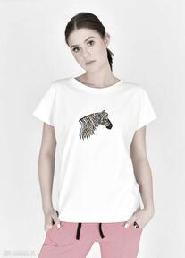 Tiszert biały malowany kolorowa zebra koszulki trzyforu koszulka