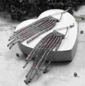 Długie kolczyki z koralików w stylu boho - indiańskie odcieniach