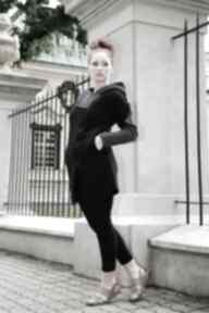 Bluza damska czarna asymetryczna ragini long bluzy