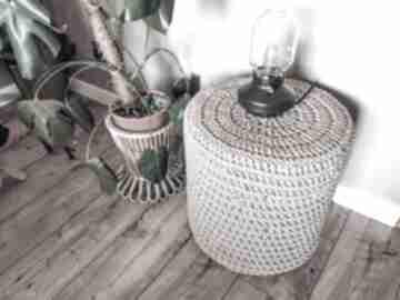 Pufa pleciona siedzisko ze sznurka stolik boho hygge macrame