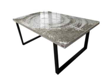 White symphony - stół do jadalni ze złotą strukturą stoły art