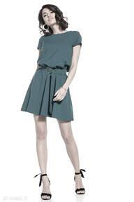 Elegancka sukienka mini ściągnięta w talii, t333, szmaragd