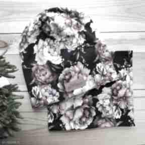 Zestaw komin i czapka beanie kolorowe kwiaty czapki godeco