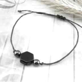 mela artbransoletka subtelna sznurkowa kamienie onyks hematyt