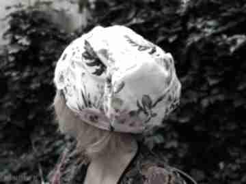 Czapka w kwiaty damska dzianina miękka czapki ruda klara czapka