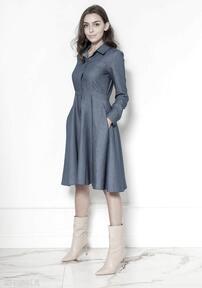Rozkloszowana jeansowa sukienka, suk130 jeans sukienki lanti