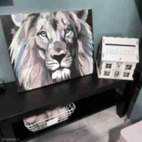 Obraz lwa malowany farbami sznurekwiki obraz, lew, kolorowy,