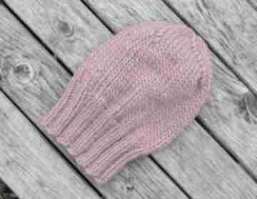 Wełna 100% soczysty amarant klasyk ciepła zimowa czapka z wełny