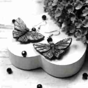 Czarny motyl - kolczyki wiszące kameleon motyle, motylki